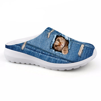 Mesh Sandals Cute Animal Cat Dog Printing Slip-on