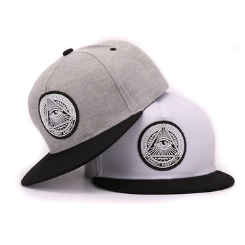 eyes plastic patch mens flat brim baseball cap