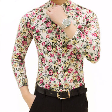 spring flower shirts for men casual