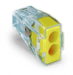 Wago 773-102 PUSH WIRE® connector for junction boxes; 2-conductor terminal block; transparent housing; yellow cover