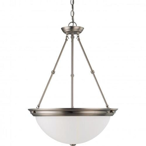 "NUVO 60/3298 3 Light 20"" Pendant with Frosted White Glass - (3) 13w GU24 Lamps Included"