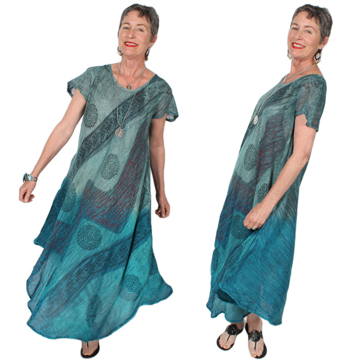 Sunheart Batik short-sleeve Summer Dress Boho Hippie Chic Resort Wear Sml-4x+