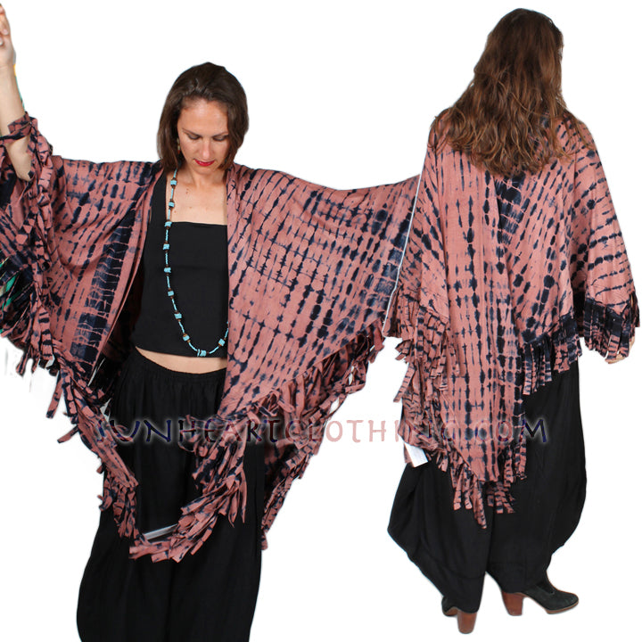 Sunheart Malibu Batik Fringe Ruana Jacket Hippie Chic Plus Resort Wear Artisan