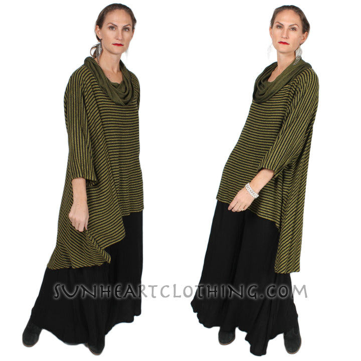 Dairi Fashions Boucle Stripe Sutra High-Low Plus Tunic or Dress Resort Wear Sml-7x