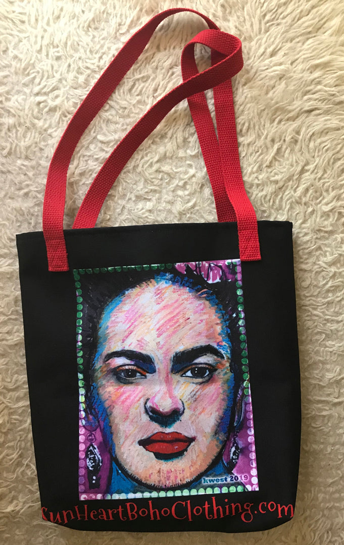 Sunheart My Painting of Frida Kahlo! Goddess Artist Tote Book Grocery Bag