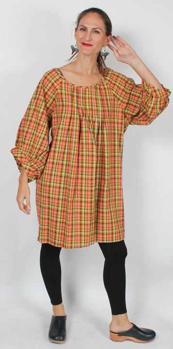 Sunheart Pleated Plaid Cotton Blouse Top Boho XL-1X-2x