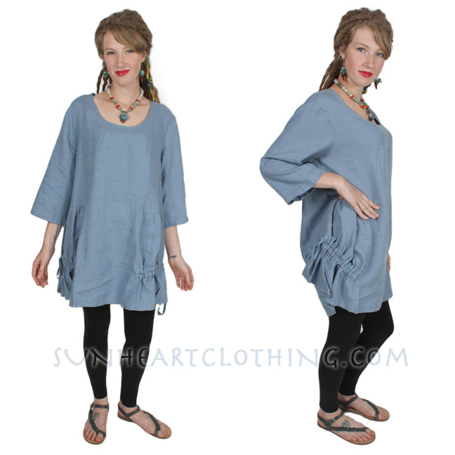 Animale Linen Lagenlook Tunic Top Ruched Boho Hippie Chic XL