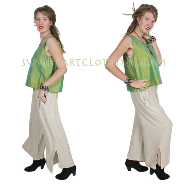 Dairi Fashions Slit-Hem Pants Moroccan Cotton Sml-3x