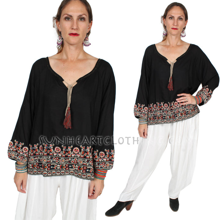 $65 OFF Tienda ho Beaded Embroidered Tassel Blouse Top Boho Evening Wear Hippie Chic Plus Sml-2x