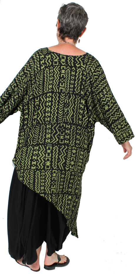 Dairi Fashions Geometric Black Lime Tunic Top Boho Sml-7x