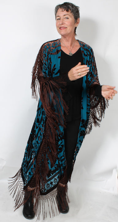 Sunheart Silk Velvet French Tassel Ruana Caftan Coat One Size