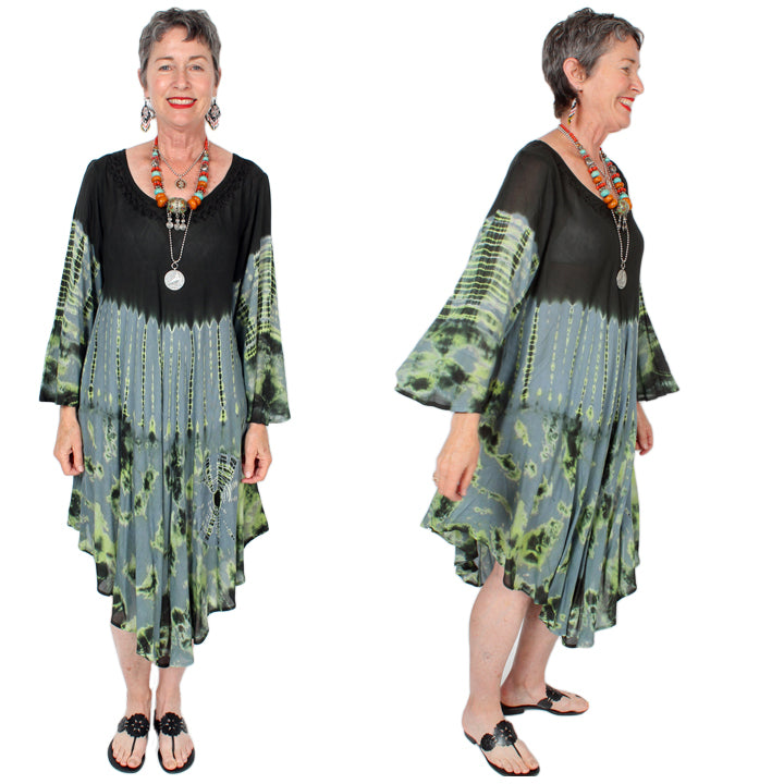 Sunheart Batik long-sleeve Summer Dress Boho Hippie Chic Resort Wear Sml-4x+