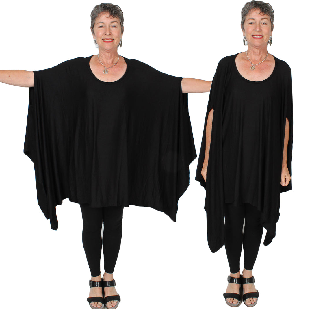 Sunheart Plus Lagenlook Tunic Top Poncho Lagenlook Boho Hippie Chic SML-6X+