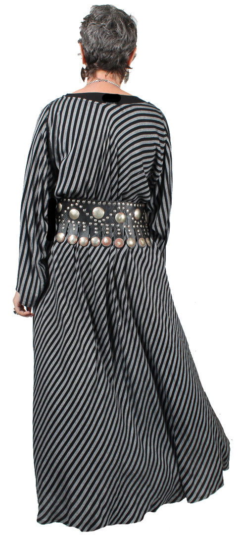 Dairi Fashions Juno Dress Silver Blk Stripe Moroccan Cotton Bias Cut Sml-7X
