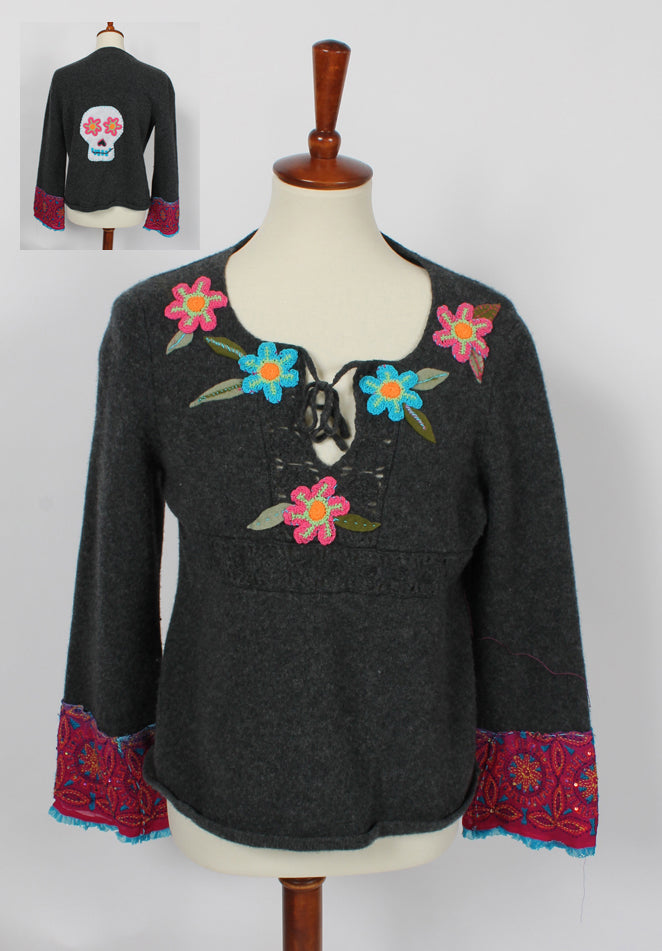 SunHeart American Eagle Outfitters Lambswool Felted Sweater Dia De Los Muertos Embroidered Flowers Sugar Skull Silk Upcycled Sml-Large