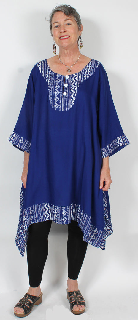 Tribal Sunheart Plus Tunic Top Lagenlook Boho Hippie Chic SML-2X