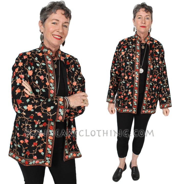 Kashmir hand-embroidered wool Jacket Sml-1X