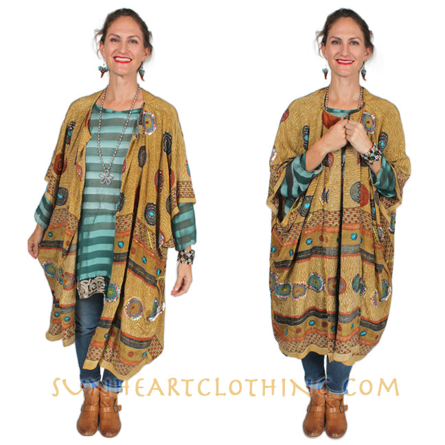 Boho Hippie Chic Caftan Poncho Top Zen Black & White  Resort Wear Sml-7X