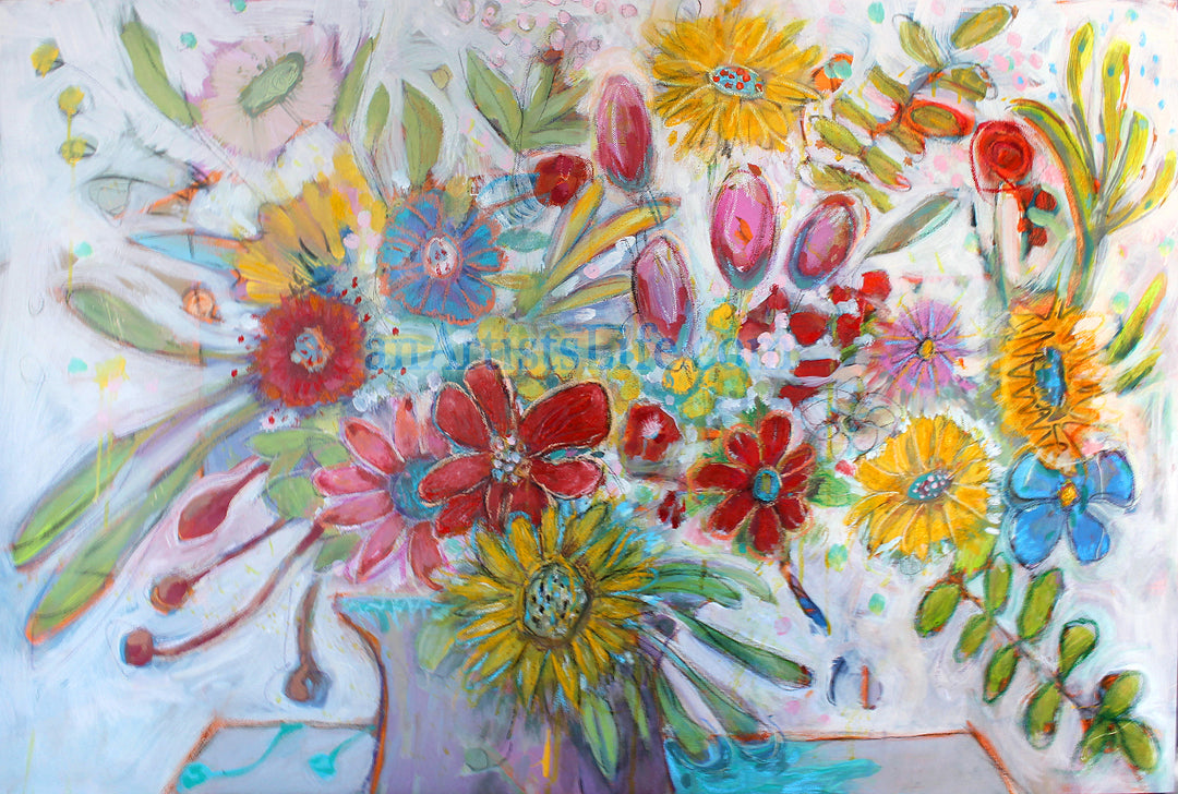 "Flowers Make Me Feel Good About Life Mixed Media 24"" x 36"" Original Painting"