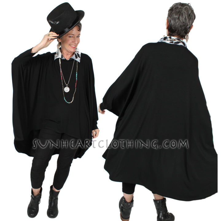 Sunheart Freedom hi-low Tunic Top - 1920's Batwing Jacket Boho Hippie Chic Resort Wear Sml-10X