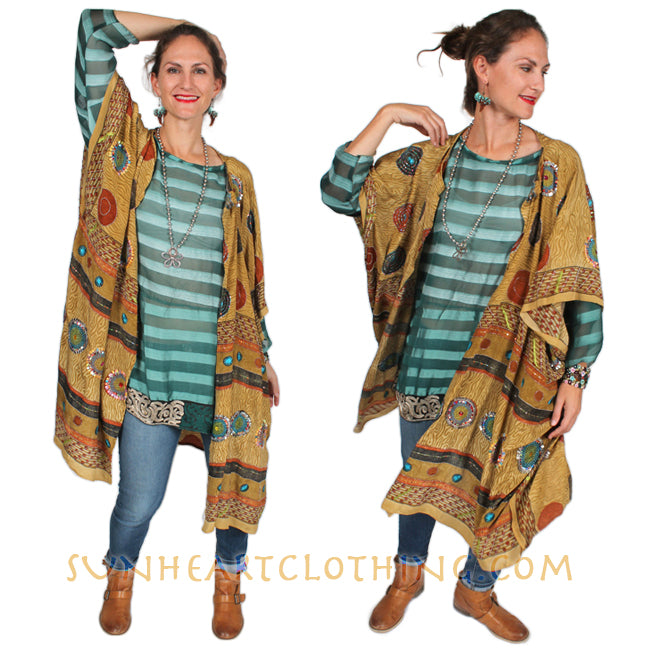 Sunheart Vintage Silk Boho Tunic Top Celtic braid Embroidered Sml-3x