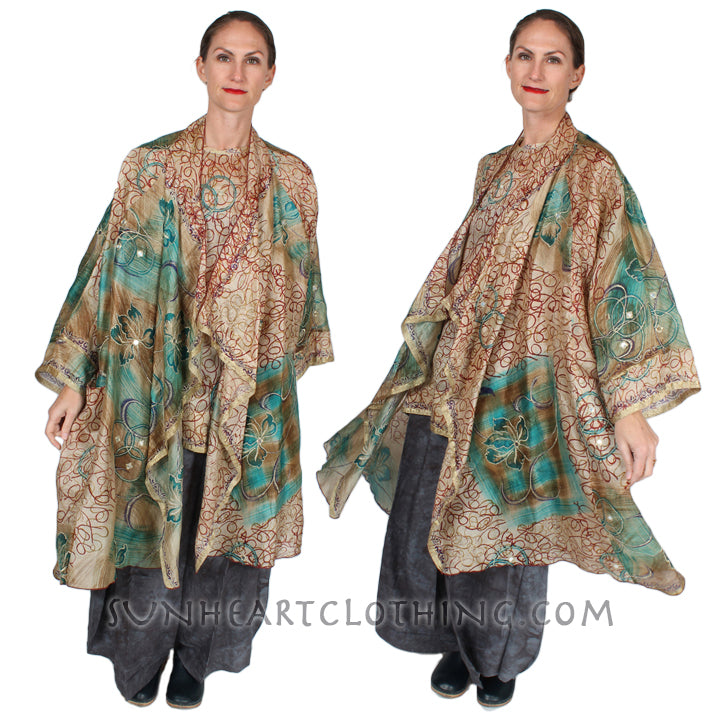 SunHeart Vintage Silk Spirals Boho Tunic Top one-of-a-kind originals Sml-4x