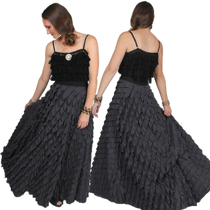 Free People full length Ruffle Flamenco Skirt Evening Glam Large-XL-2X