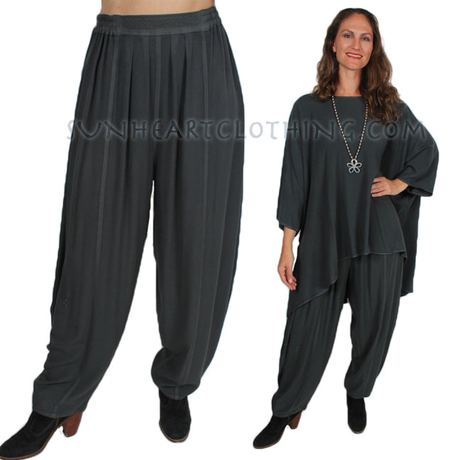 Dairi Fashions Boucle Harem Pants Moroccan Cotton Hematite Gray Sml-4x