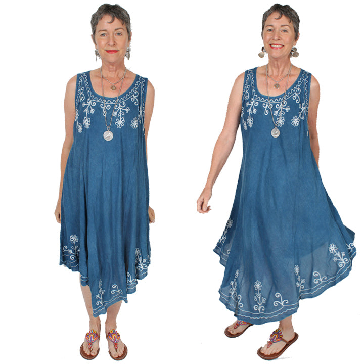 Sunheart Batik Tank Summer Dress Boho Hippie Chic Resort Wear Sml-4x+