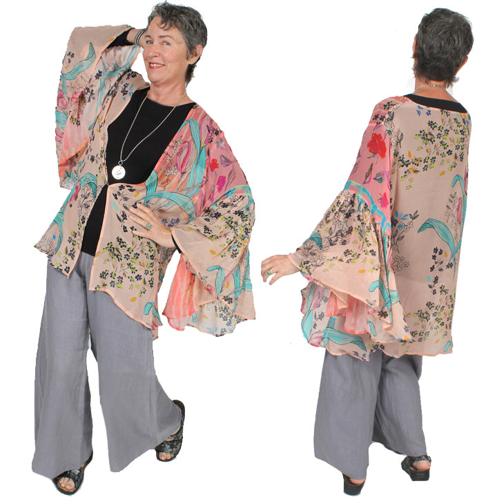 Sunheart Freedom Kimono Jacket Boho Hippie Chic Resort Wear Sml-2X