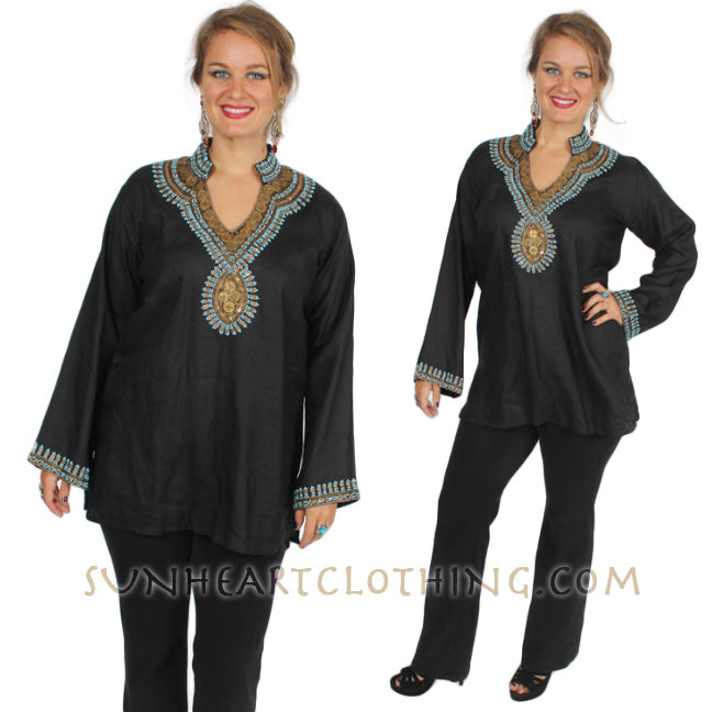 Black Linen Embellished Gold Coin long-sleeve Tunic Top XL