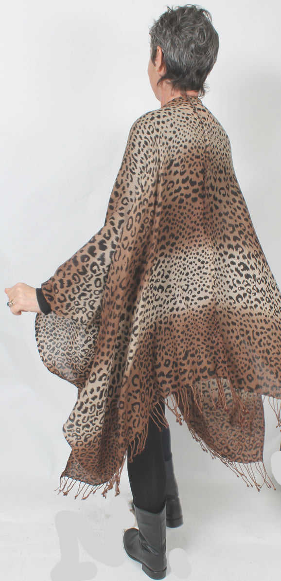 Leopard Ruana Duster Jacket Embroidered Boho Sophisticated