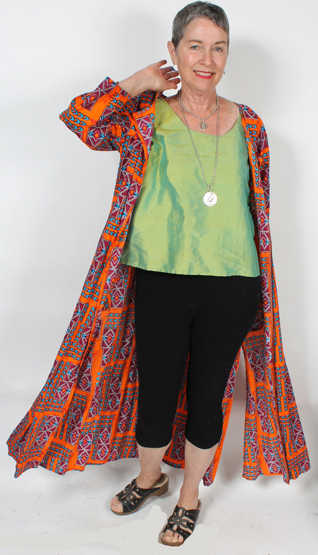 Sunheart African Batik Coat Plus Resort Wear Hippie Chic Sml-3X
