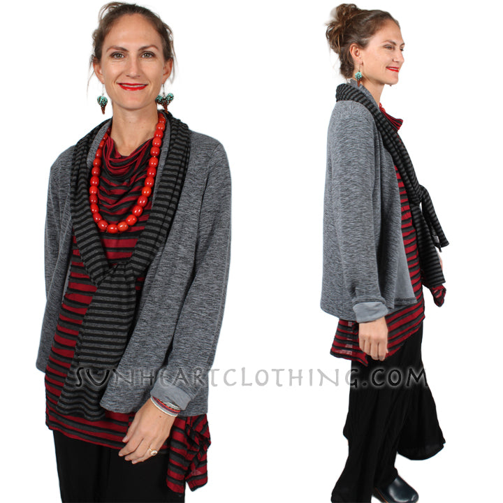 Cut-Loose Draped Cardigan Jacket Sophisticated Casual Plus Sml-2x