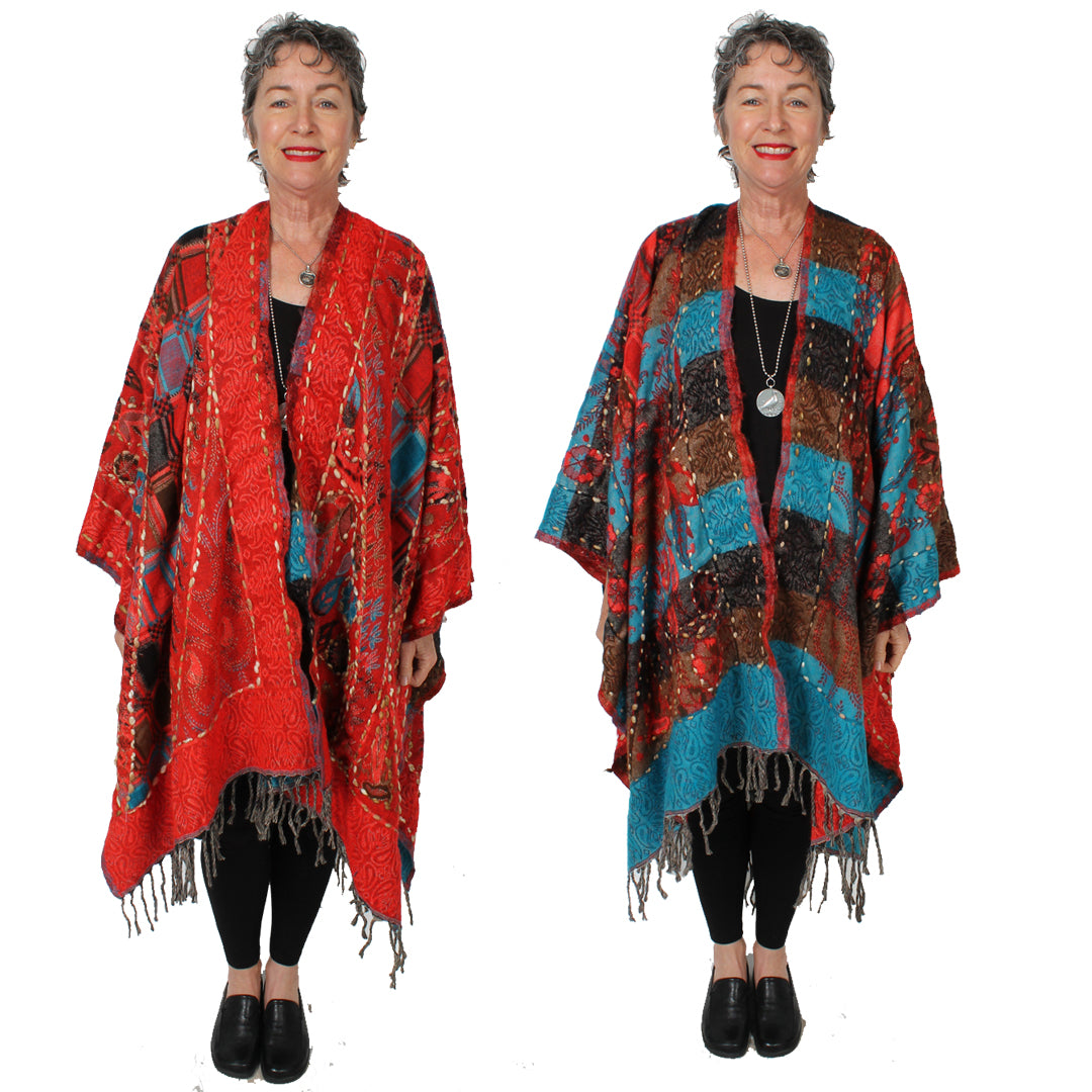 Wrap Artist Ruana Duster Jacket Embroidered Wool  Boho Sophisticated