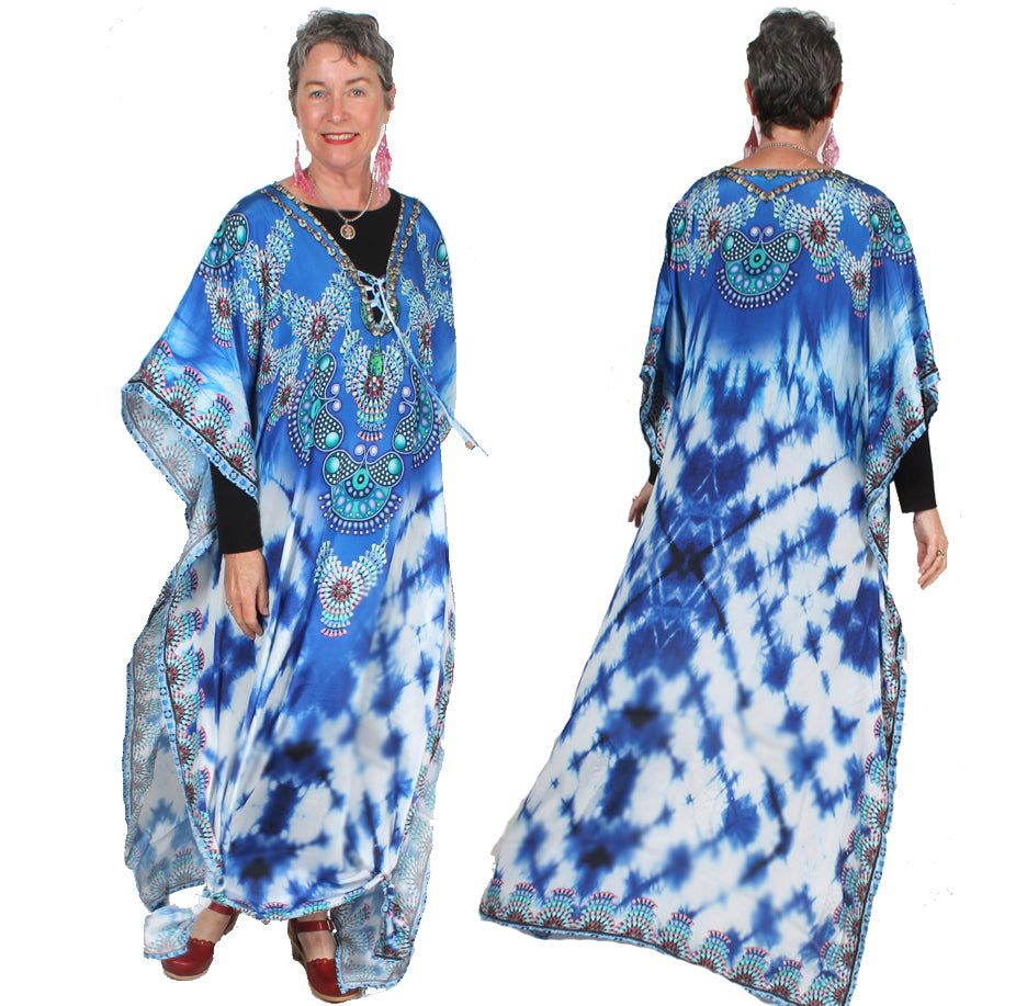 Blue Peace Silk Caftan Top or Dress Boho Hippie Chic  Sml-6x