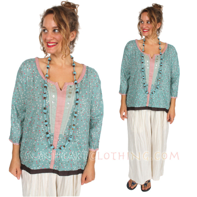 Little Journeys Lucy Dot Top Boho Hippie Chic XL