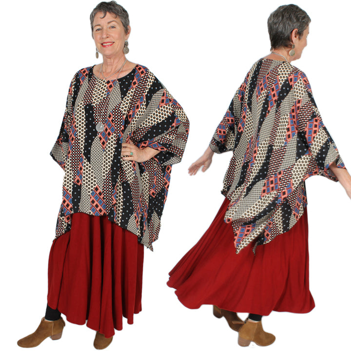 Sunheart Plus Abstract Oversize Tunic Top Lagenlook Boho Hippie Chic SML-6X+