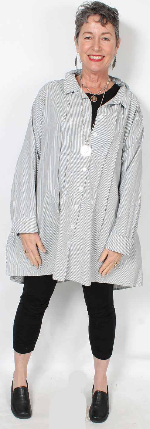 Tulip Latte Gray-White Stripe Cotton Shirt Lagenlook Boho Resort  XL Sml-2x