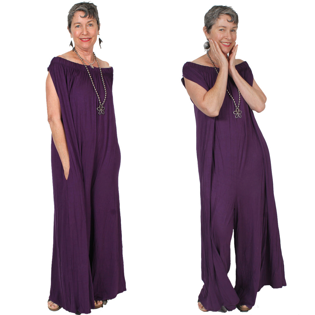 Jumpsuit Royal Purple Boho Hippie Chic Sophisticated Casual LARGE-7X
