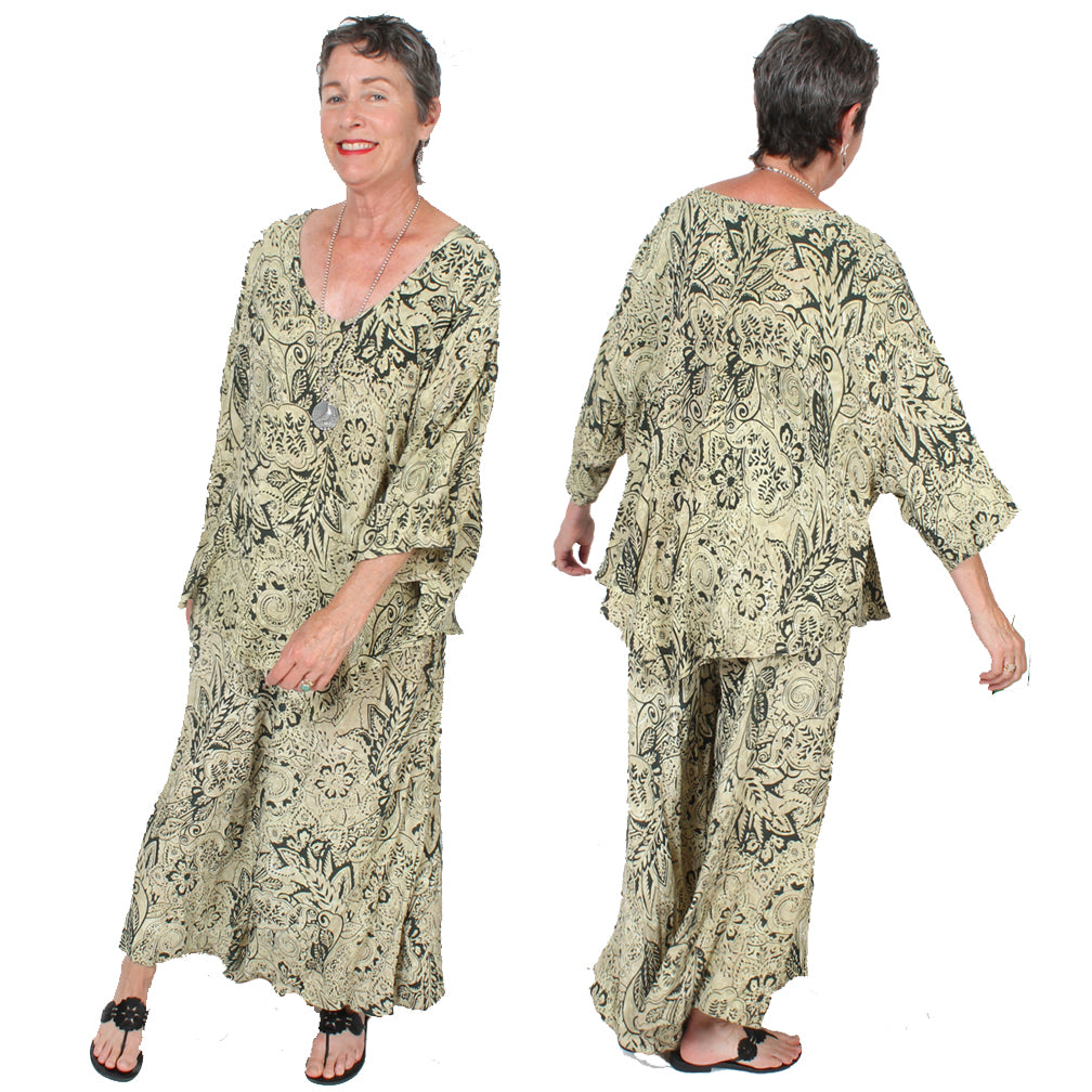 Tienda ho Paisley Monsoon Top & Pants Set Boho Hippie Chic Resort Wear Sml-4X