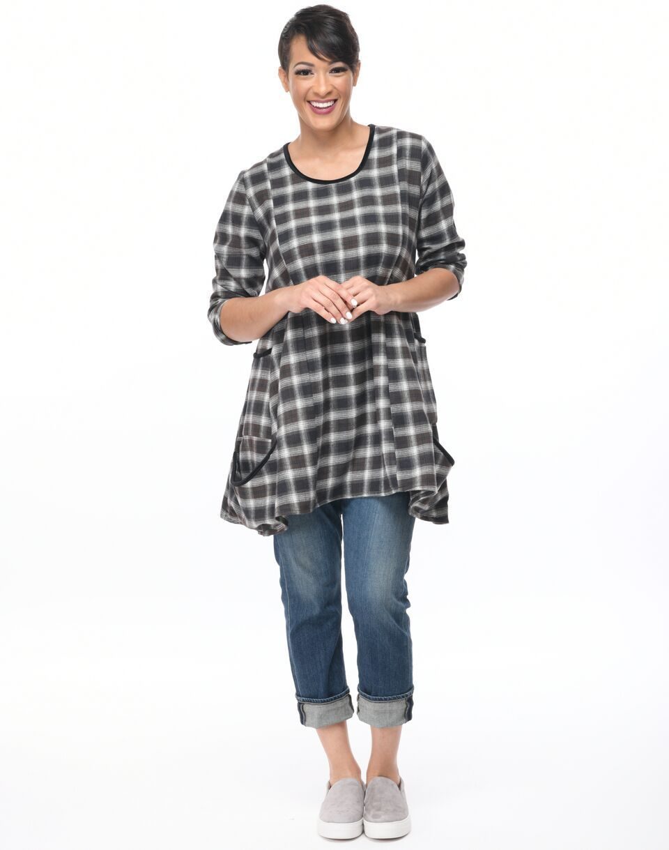 Tulip Flannel Plaid Cotton Shirt Lagenlook Boho Resort  XL Sml-2x