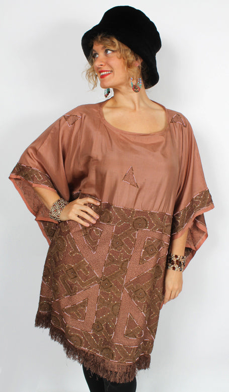Sunheart Embroided Silk Rum Vintage Beaded Glam Caftan Poncho Tunic Top Sml-7x