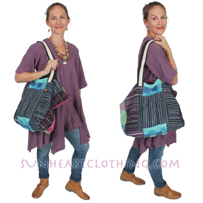 Anu Patchwork Tote Bag Shoulder Strap Weekender Purse Bag Boho