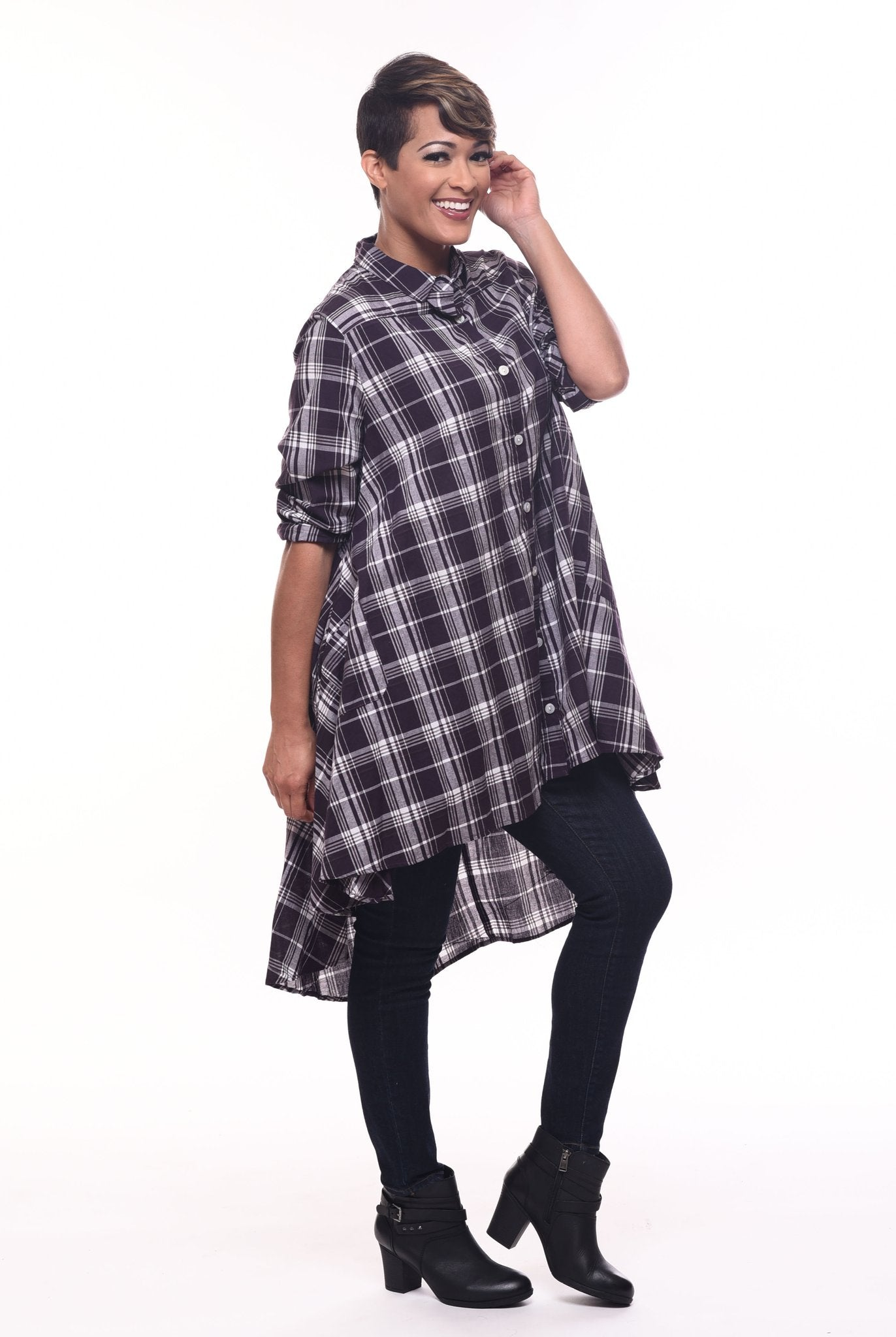 Tulip Plaid Cotton Shirt Lagenlook Boho Resort  XL Sml-2x
