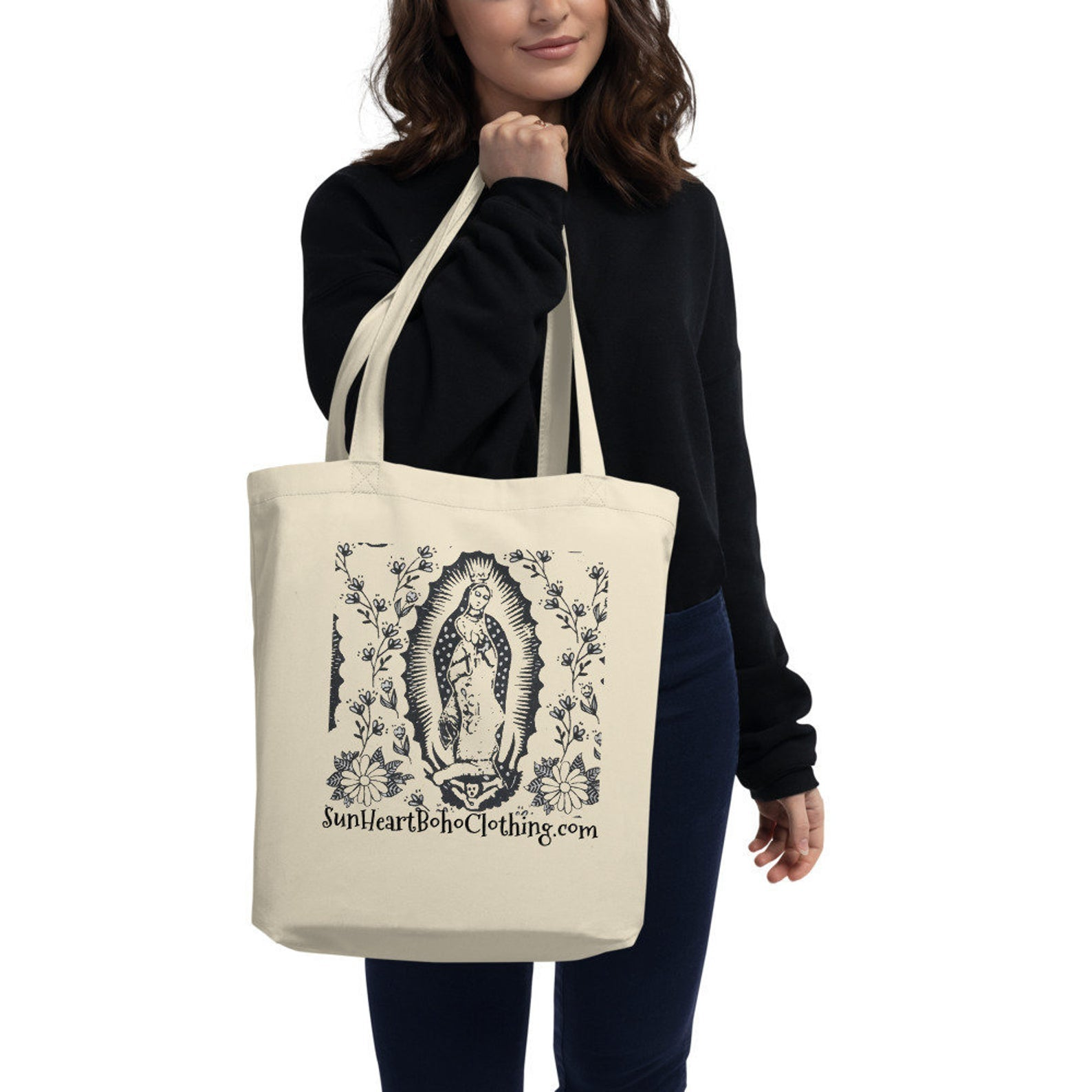 Sunheart Virgin of Guadalupe Tote Organic Cotton Religious Folk Art Book Bag