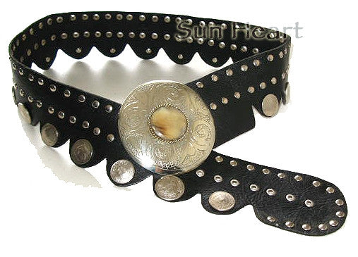 Authentic Moroccan Silver Coin Leather Belt