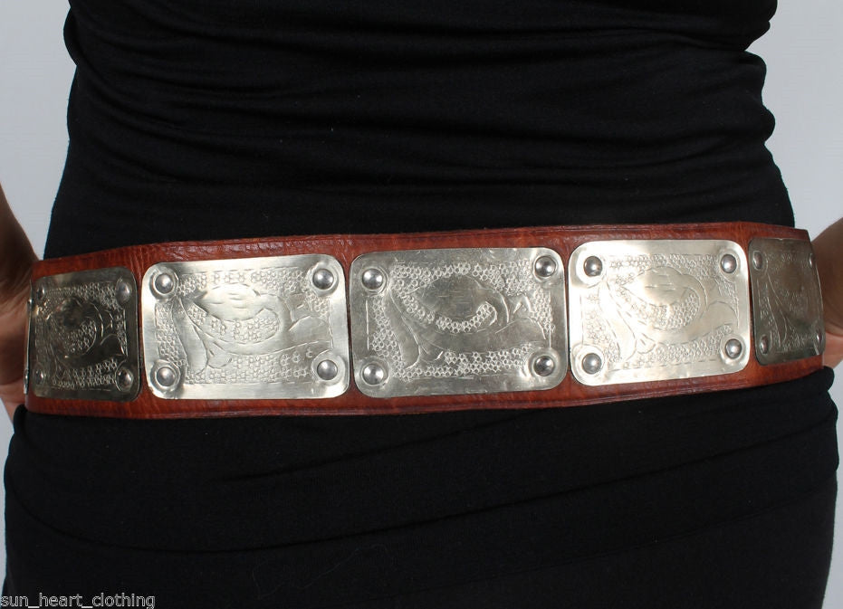 Authentic Moroccan Medallion Leather Belt Silver