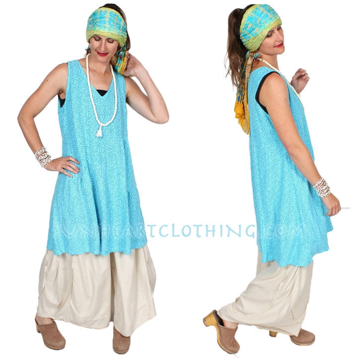 Cut Loose Cotton Tank Dress Boho Cotton Linen Resort Wear Sml-2x