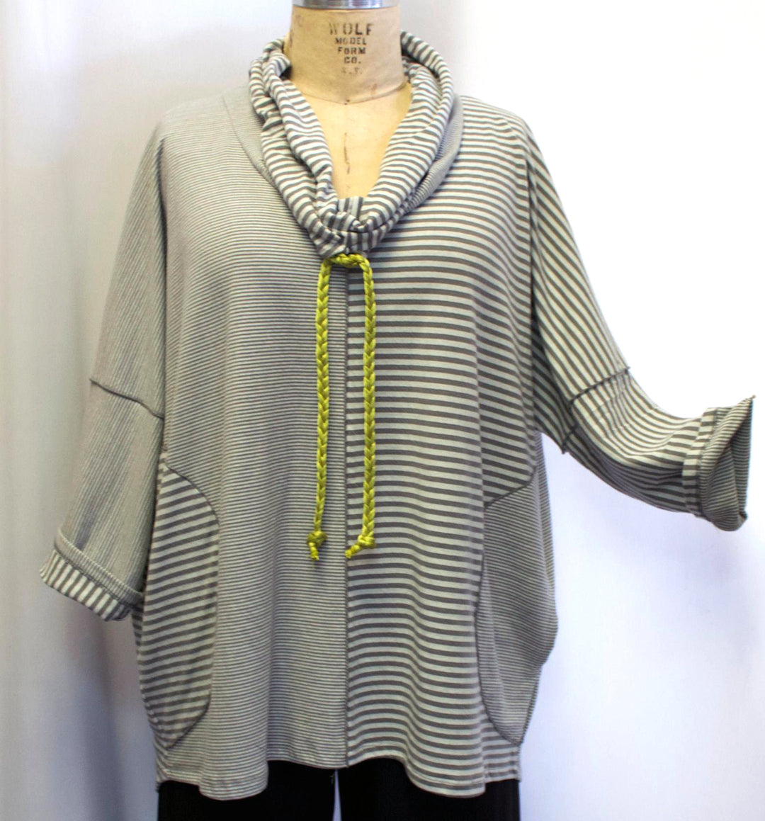 Sunheart Westport striped Pull-Over Tunic Ruched Collar Lifestyle Boho Hippie Chic SML-6X